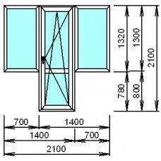 Металопластиковый блок для балкона с двумя окнами